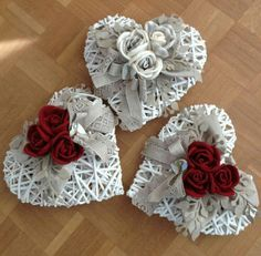 - All The World Wedding Ideas Clay Christmas Decorations, Heart Decorations, Valentines Day Decorations, Valentine Crafts, Easter Crafts, Easy Crafts To Make, Crafts To Sell, Wall Clock Collage, String Art Heart