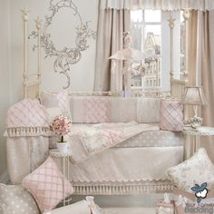 Baby Girl Pink Grey Shabby Chic Luxury Designer Crib Nursery Quilt Bedding Set #GlennaJean