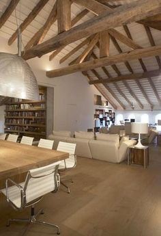 I love the exposed beams and the colour pallet