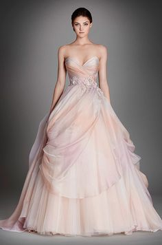 How beautiful is this ombré silk organza bridal ball gown! Lazaro, Fall 2015 #somethinggoldweddings