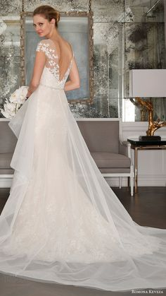 romona keveza bridal spring 2017 illusion cap sleeves trumpet wedding dres (rk7407) bv optional sheer aline overskirt train