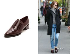 Emma Stone wearing Vince Yaeger loafers