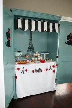 Amazing dessert table at a Paris birthday party! See more party planning ideas at CatchMyParty.com!
