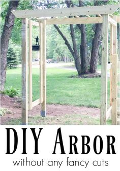 Building an arbor doesn't have to be a difficult project. The worst part is anchoring the posts but after that, this is a pretty simple DIY arbor idea for the garden. This one has no fancy angled cuts so it is going on the To Build list!