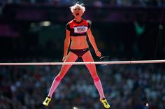 Germany's Ariane Friedrich, after a successful attempt during the women's high jump qualification at the London 2012 Olympic Games at the Olympic Stadium August 9, 2012.