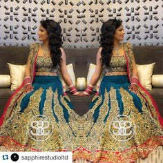 Absolutely breathtaking!! Kiran looking super gorgeous in her custom designed reception outfit by us!! Loving the color contrast she chose and the look created by @sapphirestudioltd #Repost@sapphirestudioltd with @repostapp.  Here is a full shot of Kiran's reception look. We absolutely loved her custom outfit made from @poojasboutique. Detailed profile shots of her makeup and hair to follow! _______________________________________________________  Makeup/Hair/Styling/Photography: Sapphire…