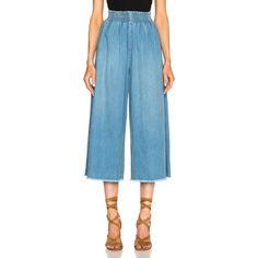 Rachel Comey Monterey Pants ($400) ❤ liked on Polyvore featuring pants, cotton pants, cotton elastic waist pants, rachel comey, back zipper pants and blue cotton pants