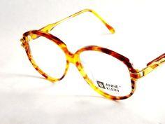 Vintage Designer Eyewear - Anne Klein - Tortoise Shell Eyeglasses - Womens Round Gold and Diamond Accents 80s Vintage New Old Stock Frames