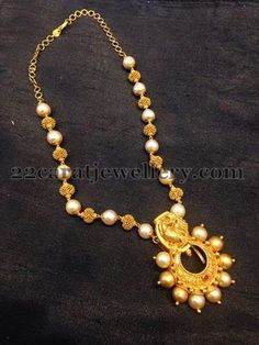 Jewellery Designs: South Pearls and Gold Beads Set