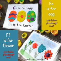 Link to printable play dough mats Quiet Time Activities, Playdough Activities, Easter Activities, Spring Activities, Alphabet Activities, Craft Activities For Kids, Preschool Activities, Crafts For Kids, Slime