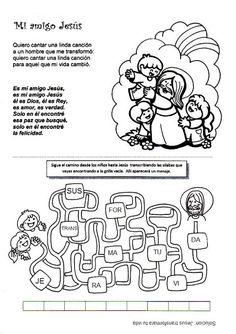 El Rincón de las Melli: Canción: Mi amigo Jesús Catholic Kids, Religion, Diagram, Comics, Words, Blog, Carnival, Friendship Activities, Welcome To Class
