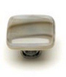 Sietto Glass Cabinet  Knob Cirrus White w/ Brown Accent