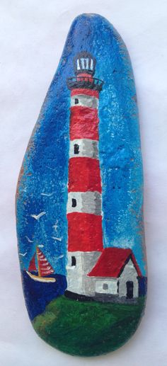 Easy Paint Rock For Try at Home (Stone Art & Rock Painting Ideas) Lighthouse! Rock Painting Patterns, Rock Painting Ideas Easy, Rock Painting Designs, Pebble Painting, Pebble Art, Stone Painting, Painted Rocks Craft, Hand Painted Rocks, Painted Stones