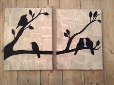 lovely simple silhouette of birds - newspaper, canvas, diy, painting :) . Diy Canvas, Canvas Art, Painting Canvas, Newspaper Art, Newspaper Painting, Newspaper Basket, Art Decor, Decoration, Decor Ideas