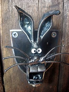 Wall Mounted Rabbit's Head Bottle Opener Handmade by PlanetDork, $39.99