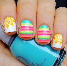 Summer Nails - would make only the ring finger the sun, middle finger stripes, and the rest blue or pink