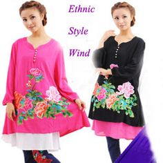 Aliexpress.com : Buy National Trend Dress Embroidery, Chinese Style Women Dress, Ethnic Folk Style Plus Size, National China Tradtional Tang Shirt  from Reliable national trend dress emboidery  suppliers on Vintage  Fashion Store $45.41