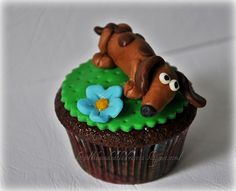 Dachshund cupcake