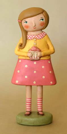 Girl with a cupcake Paperclay OOAK Art Doll. $50.00, via Etsy.