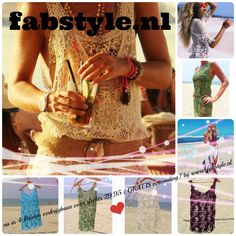 Helemaal hip en HOT deze zomer......gehaakt Ibiza strand jurkje....  Bij ons verkrijgbaar in 4 trendy kleuren voor slechts 29,95 ( GRATIS verzending)  www.fabstyle.nl
