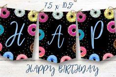 Donut birthday banner, Donut instant download party banner, You print birthday banner, Donut DIY party banner Banner, Birthday, Unique Jewelry, Handmade Gifts, Happy, Diy, Vintage, Banner Stands, Kid Craft Gifts