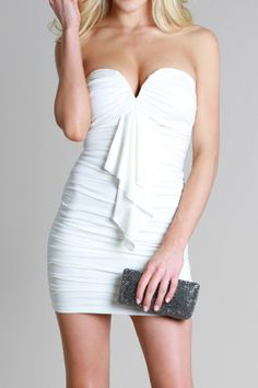 25211619e3a16 Shop Kami Shade  - Ibiza White Ruffled Strapless Dress