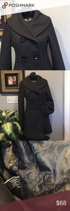 "Guess Wool Blend Pea Coat Sz Small Guess Wool Blend pea coat. Very tailored fit, soft wool fabric, fully lined, big black button front closure.  Truest a quality Jacket. Very well made.   31"" shoulder to hem, sleeve 23"", chest 16"". Guess Jackets & Coats Pea Coats"