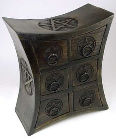 #pagan #wicca #witchcraft #celtic #druid #tarot Six Drawer Pentagram Herb Cupboard $55.95
