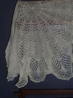 Baby Christening Shawl showing Peacock Tail Pattern, this one was also in my Etsy Shop.