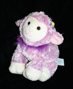 """Kids Preferred Easter Lamb. She has Pink and Purple Silky Plush that looks Tie Dyed with a Purple Feather Boa around her neck. She's about  7"""" Soft Toy #KidsPreferred #EasterLamb #Easter"""