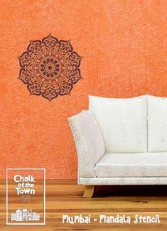 Mumbai - Ινδικό στένσιλ Μάνταλα - Chalk Of The Town® Stencils Design Mandala, Stencils, Tapestry, Collection, Home Decor, Hanging Tapestry, Tapestries, Decoration Home, Room Decor