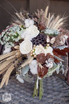 Rustic wedding inspiration photo.Beautiful fall wheat bouquet by Virtu Floral and Event Design