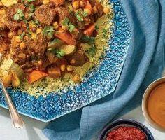 Moroccan Lamb and Seven-Vegetable Couscous - Recipe - FineCooking Lamb Pasta, Bbq Pork Tenderloin, Vegetable Couscous, Couscous Recipes, Ras El Hanout, Lamb Dishes, Shawarma, Daily Meals, The Originals