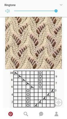 free lace knitting stitch pattern, chart only, no key Lace Knitting Stitches, Knitting Blogs, Crochet Stitches Patterns, Knitting Charts, Lace Patterns, Loom Knitting, Knitting Designs, Knitting Patterns Free, Baby Knitting