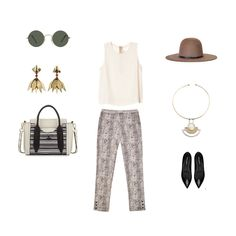 This is a great outfit for a baby shower in the fall. You can wear some printed trousers, a fun hat, and spice things up with some funky vintage jewelry. The Dannijo earrings go great with these Fall essentials from Bona Drag. #ootd #outfit #outfitgrid #fallstyle