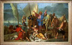 Jean JOUVENET Rouen, 1644 - Paris, 1717  La Pêche miraculeuse  1706  H. : 3,92 m. ; L. : 6,64 m.  Le sujet trouve son origine dans les Évangiles de saint Luc (5, 1-11) et de saint Jean (21, 1 -8) qui fournissent des récits assez différents de l'épisode, le premier plaçant Jésus dans une barque, le second sur le rivage. Jouvenet semble toutefois avoir retenu le sens donné par Luc : exerçant le métier de pêcheur, Pierre et ses compagnons avaient pris tant de poissons que leurs filets se…