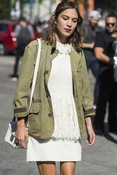 Alexa nails a khaki and cream knit combo at NYFW.