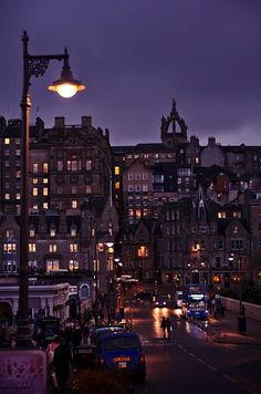 December evening in Edinburgh, Scotland, old city, city lights, purple, architecture, buildings, night by PicClick on Etsy
