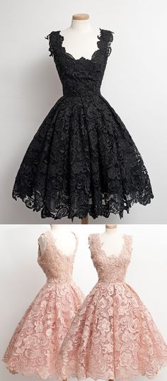 Vintage A-line Scalloped-Edge Knee-Length 50s Lace Black Prom/Party/Homecoming…