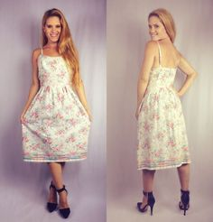 Vtg Floral + Rainbow Striped White Pink Roses Dress Garden Party Pinup Retro S/M #ACaliforniaPoppybyLanz #Sundress #Casual
