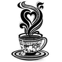 Coffee Love, Coffee Cup, Coffee Doodle Art, Coffee Illustration, Black and White Coffee Design Mini Art Print by nmartworks Cute Doodle Art, Doodle Art Designs, Doodle Art Drawing, Mandala Drawing, Drawing Sketches, Black And White Art Drawing, Black And White Doodle, Black Art, Mandala Art Lesson