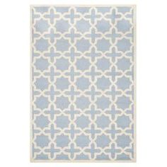 Master Rug - Hand-tufted wool rug showcasing a quatrefoil motif in light blue and ivory.   Product: RugConstruction Material: WoolColor: Light blue and ivoryFeatures:  Made in IndiaHand-tufted Note: Please be aware that actual colors may vary from those shown on your screen. Accent rugs may also not show the entire pattern that the corresponding area rugs have.Cleaning and Care: Professional cleaning recommended
