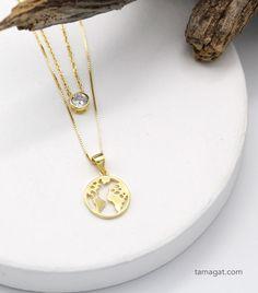 Pack de 2 collares MAPA MUNDI/CIRCONITA en plata de Ley con baño oro Gold Necklace, Jewelry, Fashion, Anklets, Necklaces, Bracelet, Silverware Jewelry, Rings, Accessories