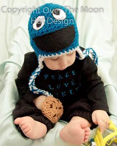 Peace Love Cookies  By  Over The Moon Hat Design.  Cookie Monster inspired hat with cookies on strings.