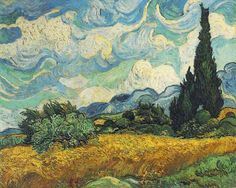 Wheat Field with Cypresses - Vincent van Gogh (Dutch, Zundert Auvers-sur-Oise). Cypresses gained ground in Van Gogh's work by late June 1889 when he resolved to devote one of his first series in Saint-Rémy to the towering trees. Post Impressionism, Google Art Project, Art Van, Metropolitan Museum Of Art, Most Expensive Painting, Painting Prints, Canvas Art, Van Gogh Art, Expensive Paintings