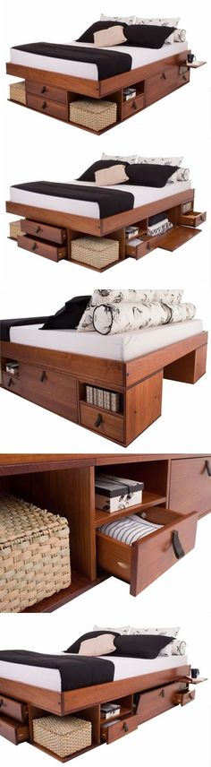 Platform Bed Ideas - Is it time for a new DIY platform bed? Here are the top DIY bed projects for a variety of beautiful frameworks matched for various homes! Wood Furniture, Bedroom Furniture, Furniture Design, Guy Bedroom, Ikea Bedroom, Bedroom Sets, Beds For Small Spaces, Murphy Bed Plans, Diy Bed