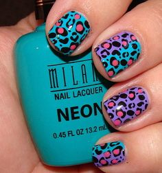 Bright Purple, Teal and Pink Leopard Nail Art