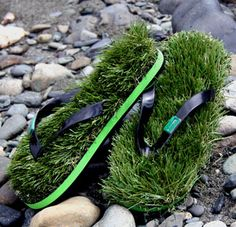 Kusa Grass Flip Flops give you the feel of plush lawn with every step.   Funny!