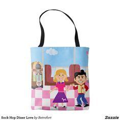 Sock Hop Diner Love Tote Bag. Cute retro illustration. #oldies #music #totebag #fashion #retroillustration