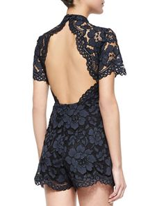 Alexis Winn Open-Back Short Lace Jumpsuit | CUSP